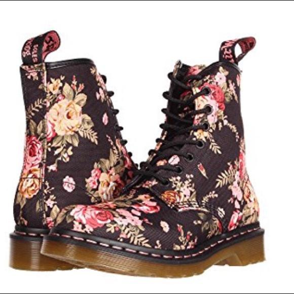 Dr. Martens 1460 W - Black Floral Patent - Boots